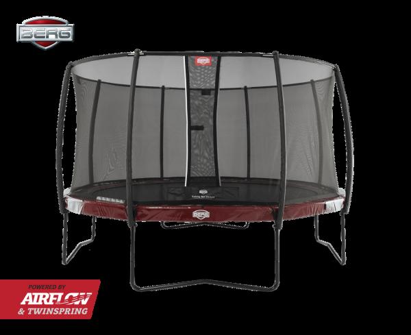 Berg Trampolin Elite Rot + Sicherheitsnetz Deluxe