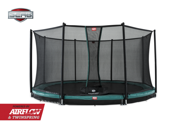 Berg Trampolin InGround Champion Green + Sicherheitsnetz
