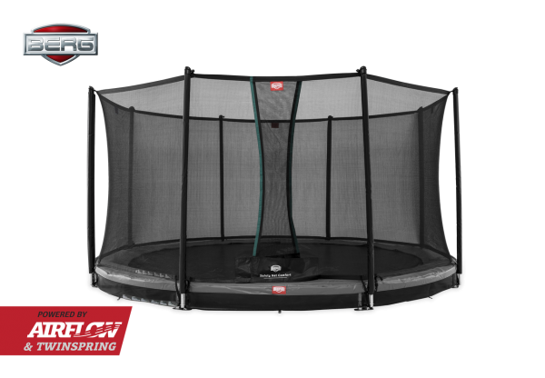 Berg Trampolin InGround Champion Grey + Sicherheitsnetz